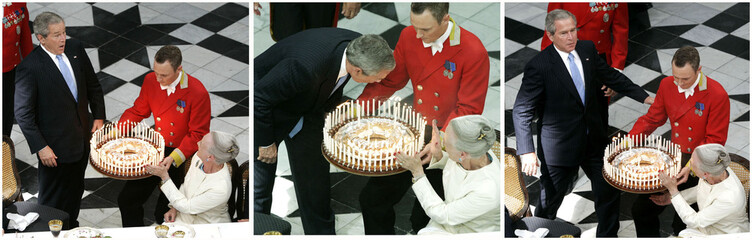 Combo picture of US President Bush blowing out candles on birthday cake at Fredensborg palace.