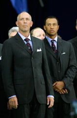 US Ryder Cup captain Lehman and Woods attend the opening ceremony for the Ryder Cup in County Kildare