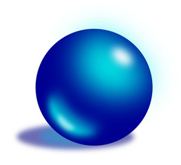 Dark blue shiny translucent ball with a shadow