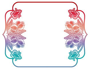 Gradient label with decorative flowers. Copy space.