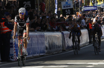 Cervelo Test Team rider Haussier takes second place in the Tour of Flanders cycling race in Meerbeke
