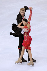 France's skaters Isabelle Delobel and Olivier Schoenfelder perform during the Ice Dancing Compulsory Dance at the Bompard Trophy event at Bercy in Paris