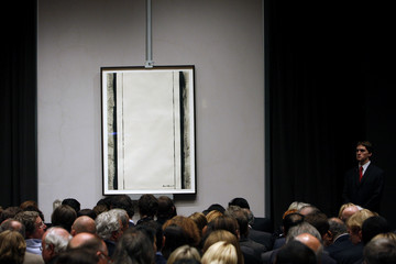 Barnett Newman's untitled painting is viewed by bidders at Christie's in New York City