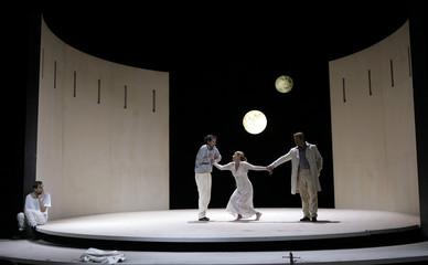 """Actors Krueger, Maertens, Lyssewski and Koch perform on stage during a dress rehearsal of Heinrich von Kleist's play """"Amphitryon"""" in Vienna"""