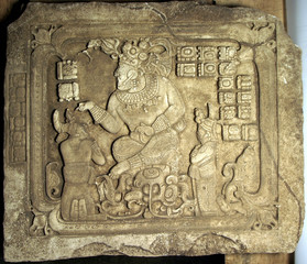 A photo of a perfectly preserved 100 pound panel found by Guatemalan archaeologist Antonieta Chajas.
