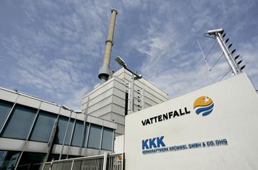 Main entrance of the nuclear power plant Kruemmel near Geesthacht is seen