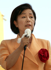 NAGANO GOVERNOR CANDIDATE HASEGAWA SPEAKS TO HER SUPPORTERS DURINGELECTION CAMPAIGN IN NAGANO.