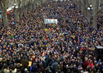 FRENCH WINE PRODUCERS STAGE PROTEST DEMONSTRATION AGAINST IMPORTS INBEZIERS.