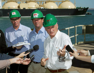 Acting Australian Prime Minister Mark Vaile and West Australian Premier Alan Carpenter and Peter Cleary hold a news conference as the first shipment of LNG liquefied natural gas departs from the Pilbara region of Western Australia