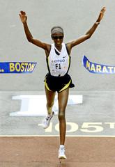CATHERINE NDEREBA FROM KENYA WINS WOMENS DIVISION OF 105TH BOSTON MARATHON.