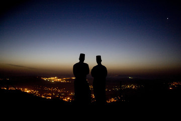 BEST QUALITY AVAILABLE Members of the Samaritan sect look towards Nablus.