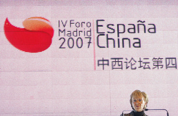 Spain's Deputy PM de la Vega addresses the audience during the IV Spain-China Forum in Madrid