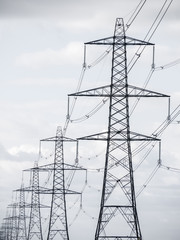 Row of electricity pylons.