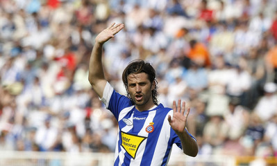 File picture of Espanyol's Jarque gesturing during their Spanish first division league match against Malaga in Barcelona
