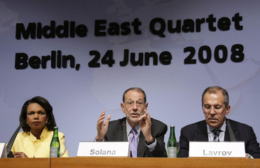 EU foreign policy chief Solana, U.S. Secretary of State Rice and Russian Foreign Minister Lavrov address conference in Berlin