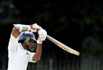 Sri Lanka's batsman Sangakkara plays shot during test cricket match against South Africa in Colombo