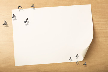 white paper with birds flying on top with wood background, holiday and free time concept