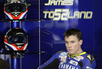 Yamaha MotoGP rider James Toseland sits in the pits area during the Spanish Grand Prix in Jerez