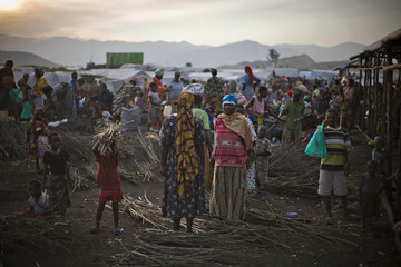 View of the market at Bulengo camp for war-displaced people just outside Goma in eastern Congo