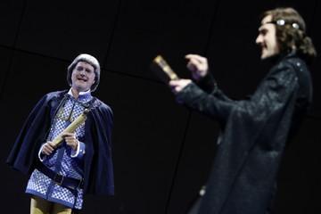 German entertainer Schmidt performs on stage during a dress rehearsal for the Hamlet musical 'Der Prinz von Daenemark' in Stuttgart