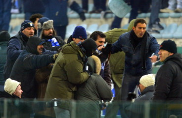 AS ROMA FANS CLASH WITH FANS FROM LOCAL ARCH RIVALS LAZIO PRIOR TODERBY MATCH.