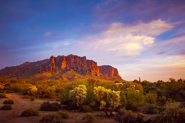 Wall Murals Arizona Superstition mountain sunset