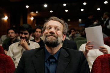 Iran's chief nuclear negotiator Larijani attends a talk at Sharif university in Tehran