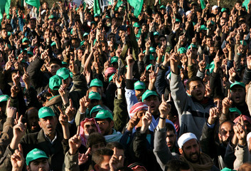 Palestinian supporters of Hamas celebrate their victory in Palestinian election in Khan Younis