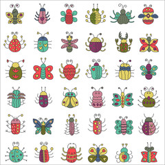 Color flat line insects icons set. Butterfly, bugs collection.