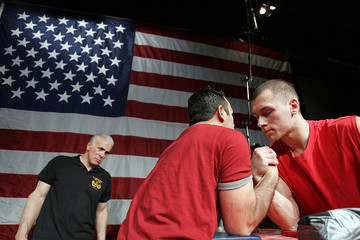 Competitors get ready to arm wrestle at the 24th New York City Big Apple Grapple in New York