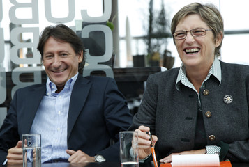 The head of Buendnis Zukunft Oesterreich Bucher and Haubner attend a news conference in Linz