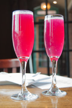 Pink Mimosa Cocktails