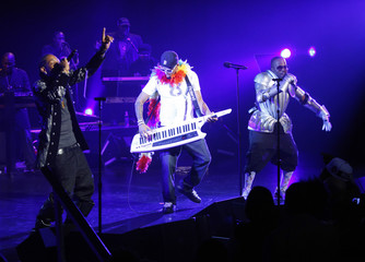Rappers Big Boi, Big Gipp and producer Dallas Austin perform during a tribute to George Clinton, winner of the 2009 BMI Urban Icon award, at the BMI Urban Music Awards in New York