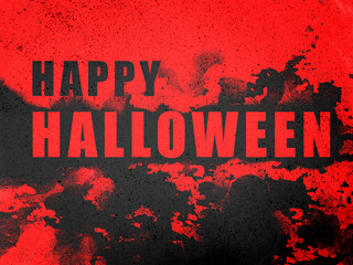Happy Halloween word on black splash and red abstract background illustration