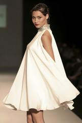 A Colombian model displays a creation of Venezuelan designer Perdomo during the Ixel fashion week in Cartagena