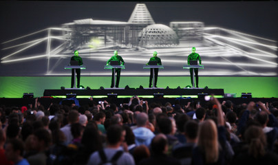 German electronic band Kraftwerk performs on stage at T-Mobile INmusic festival in Zagreb