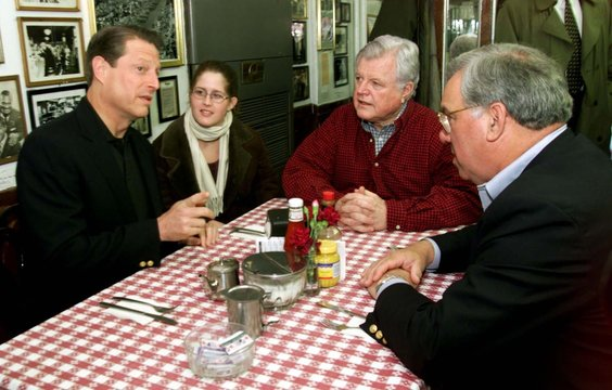U.S. VICE PRESIDENT GORE HAS BREAKFAST WITH TED KENNEDY AND BOSTON MAYOR MENINO.