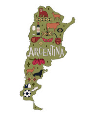 The Map of Argentina. Stylized map of Argentina with the sights.