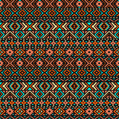 Ethnic seamless pattern with triangle and abstract geometric ornament. Tribal background texture. Vector illustration.