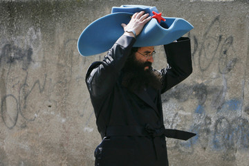 Ultra-Orthodox Jewish man celebrates Purim  in the Mea Shearim neighborhood of Jerusalem