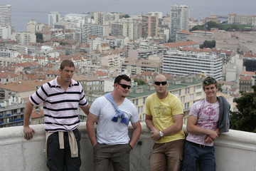 Australian Rugby World Cup players  Vickerman, Sheperson, Mortlock and Barnes pose for photos in Marseille