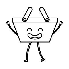 shopping basket kawaii character vector illustration design