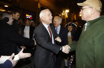 Republican presidential candidate US Senator McCain greets New England Patriots fans in Boston