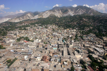 Aerial view of Muzaffarabad after Saturday's earthquake