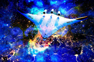 Nasa spaceship in cosmic space and Earth city night lights collage.