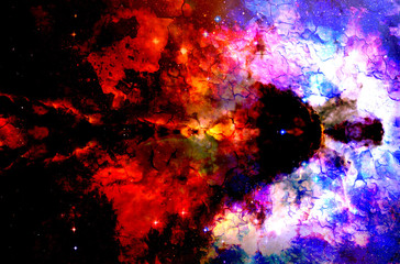 Cosmic space and stars, color cosmic abstract background. Crackle structure.