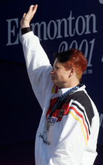 NADINE KLEINERT SCHMITT OF GERMANY RECEIVES SILVER MEDAL FOR SHOT PUT.
