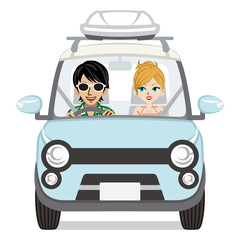 Summer fashion couple riding the car- Isolated