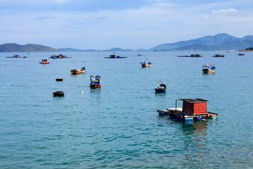 A dock in Nha Trang beach, Vietnam. Nha Trang is well known for its beaches and scuba diving and has developed into a destination for international tourists.