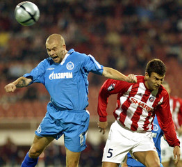 Hartig of Zenit St. Peterburg goes for the header beside Dudic of Red Star during a UEFA Cup ...